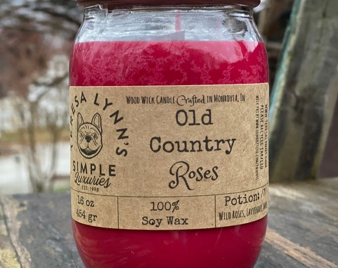 Old Country Roses, floral scented candle, wood wick, gothic, bohemian, soy wax, handmade, aromatherapy, witch, rose candle, red candle