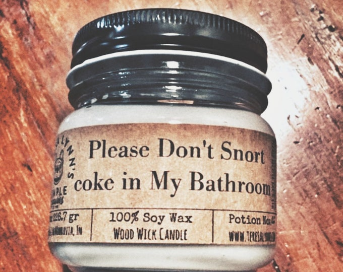 Bathroom, Peppermint, essential oil, candle, vanilla, wood wick, soy candle, odor eliminator, eucalyptus, humor, funny, coke, no shit
