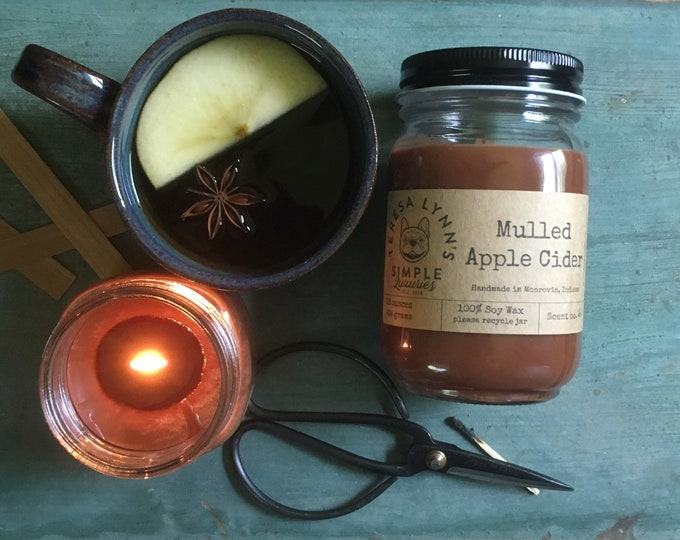 Mulled Apple Cider, Cider Candle, Wood Wick candle, French Bulldog, Fall, Farmhouse, spice, essential oil, cinnamon, soy, witchy, handmade