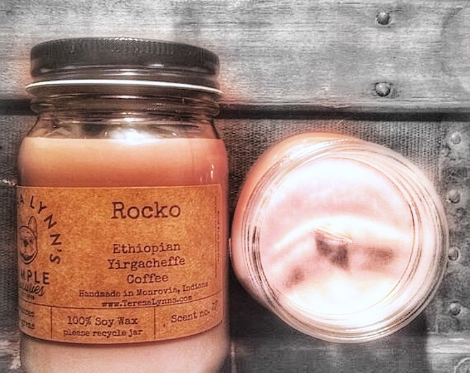 Coffee candle | Rocko | wood wick candle | 100% soy wax candle | handmade candle | Iron Bean Coffee infused | strong scented | coffee shop