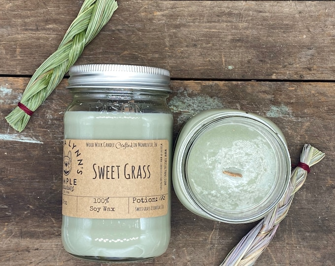Sweet grass, set, smudge, candle, wood wick candle, soy candle, wooden wick, cleansing candle, smudge, witchy, house blessing, essential oil