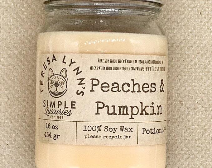 Peaches and Pumpkin, soy candle, wood wick, woodwick, fall candle, farmstand, farmhouse, natural candle, phthalate free, peach, pumpkin