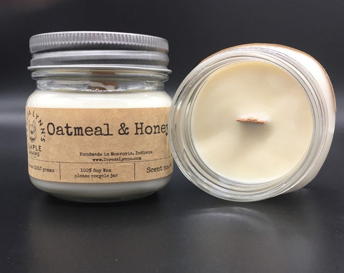 Oatmeal and Honey | scented candle | wood wick | self care | aromatherapy | 100% Soy wax | phthalate free | calming candle | handmade | Oat