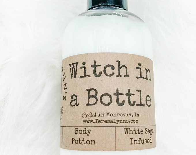 Witch in a bottle, Lotion, body cream, alcohol free, coconut oil, shea butter, luxury, skin care, white sage, essential oil, paraben free