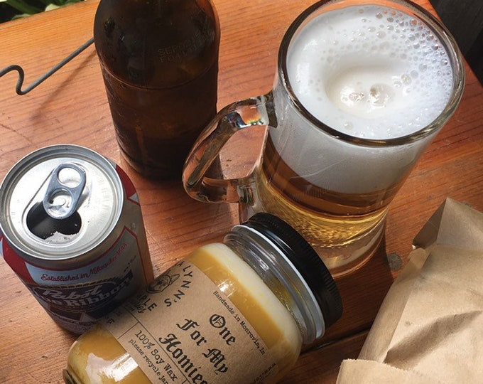 One For My Homies, ale, beer, lager, soy candle, woodwick, artisan made, Phthalate free, Father's Day, funny candle, hops, barley, natural