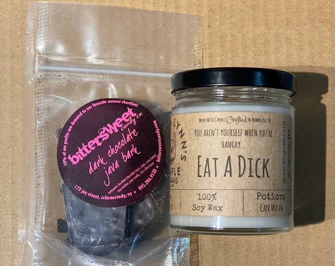 Eat a Dick, candle, coffee candle, mocha candle, funny candle, candy gift, candle, soy candle, wood wick, hangry, java bark, candy set