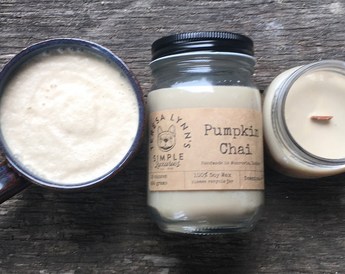 Pumpkin Chai | Soy candle | Wood Wick candle | Handmade | long burning candle | Fall candle | Farmhouse | phthalate free | french bulldog |