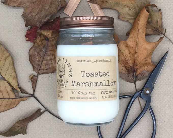 Toasted Marshmallow, soy candle,  Candle, Wood Wick, campfire, French Bulldog, Fall, Farmhouse, burnt sugar, bonfire, white candle, handmade