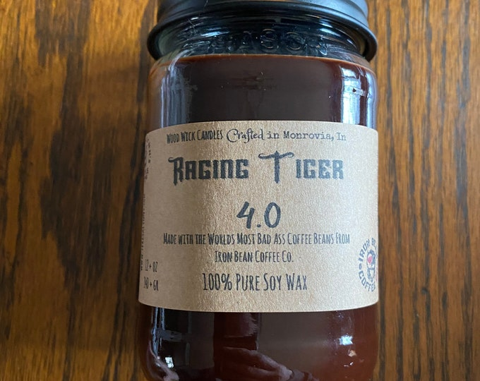 Featured listing image: Raging Tiger, Coffee Bean, candle, wood wick, woodwick, handmade, local roaster, Iron Bean Coffee, phthalate free, zinc free, coffee shop