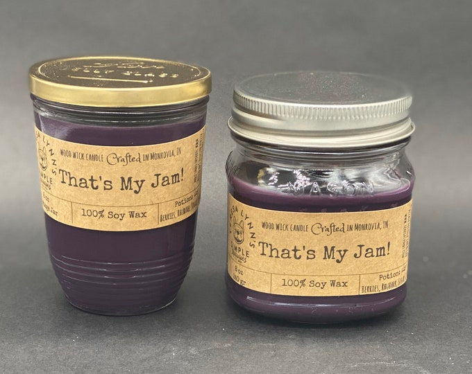 That's My Jam, blackberry, strawberry, rhubard, sugar, fruit candle, soy candle, wood wick candle, reusable container, purple, gift for her