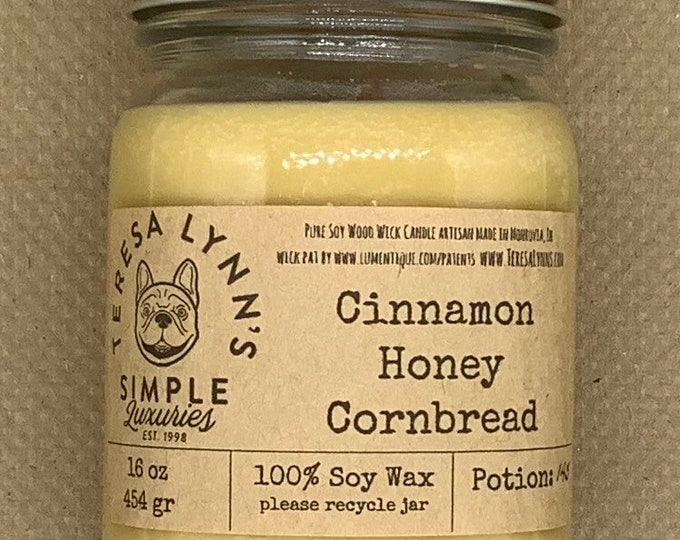 Cinnamon, honey, Cornbread, candle, Soy candle, Wood Wick candle, Phthalate free, jar candle, cast iron
