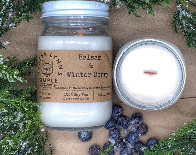 Balsam and Winter Berry | wood wick candle | soy candle | phthalate free | farmhouse | Scented | woodwick | Christmas candle | Berry | Gift