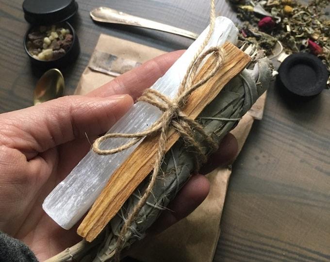 Smudge set, selenite, palo santo, Loose incense, sage smudge, roses, mint, lavender, mug wort, rosemary, lemon, damiana leaf, resin, witch