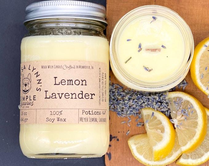 Lemon Lavender, soy candle, Wood wick, woodwick, Lemon, blue lavender, natural, essential oil blend, self care, eco friendly, Meyer lemon