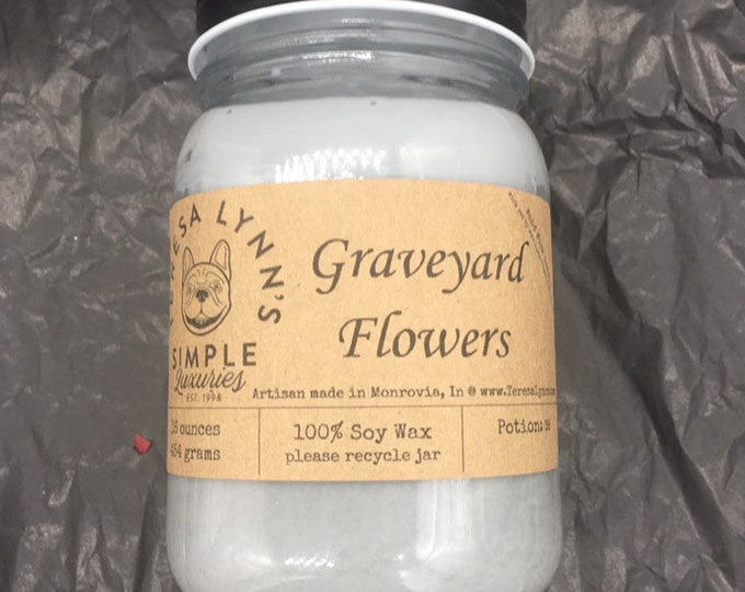 Graveyard flowers, floral scented candle, wood wick, gothic, bohemian, soy wax, handmade, aromatherapy,witch, wax melts, rose, lilac