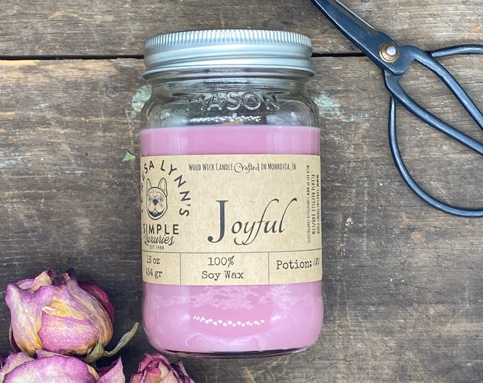 Joyful, cotton candy, marshmallow, soy candle, woodwick, gift for her, phthalate free, zinc free, pink candle, handmade, anxiety relief