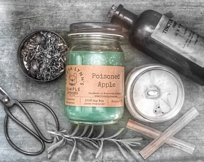 Poisoned Apple, soy candle, wood wick, abundance candle, witchy candle, essential oil candle, apple, absinthe, almond, farmhouse, intentions