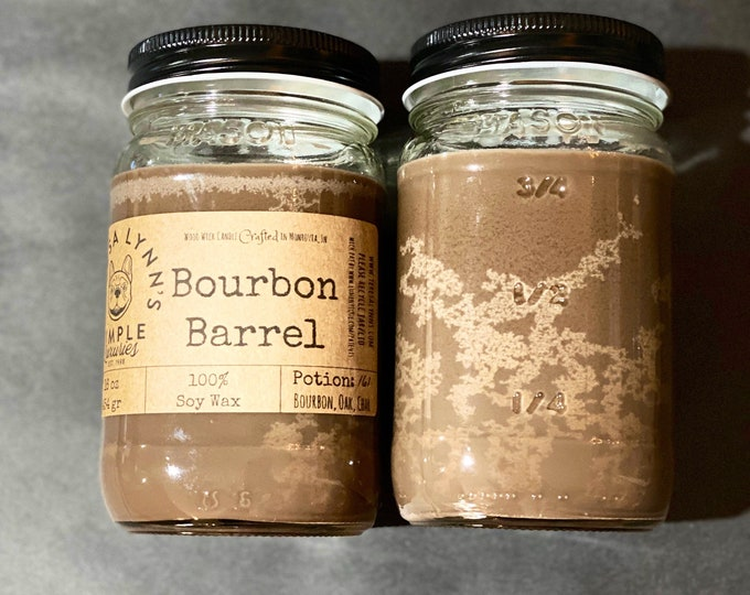 Bourbon Barrel, Woodwick, Wood wick, Soy Candle, Bourbon, Oak, Autumn candle, Winter candle, gift for him, sexy candle, Distillery, Embers
