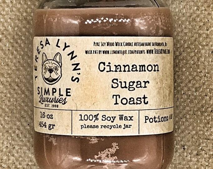 Cinnamon Sugared Toast, Soy Wax, Wood Wick, Handmade, Bread, Cinnamon, Sugar, responsibly sourced, handmade