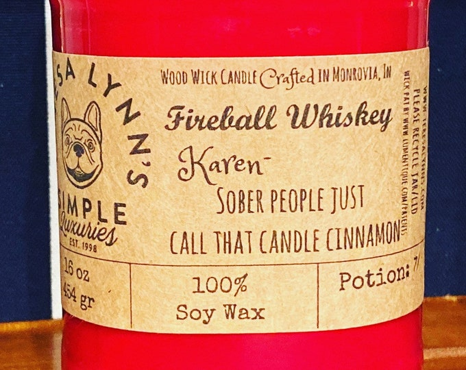 Fireball | Soy candle | Wood Wick candle | Fireball scented | Handmade | long burning candle | funny candle | Farmhouse | phthalate free