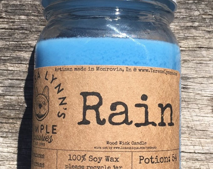 Rain scented candle | wood wick candle | soy candle | crackle candle | french bulldog | handmade candle | long burning candle | jar candle