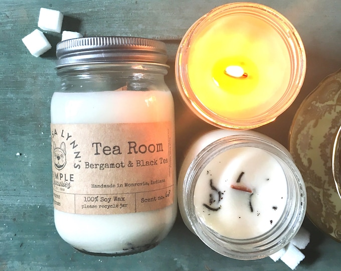 Tea Room, candle, Bergamot Tea, Soy candle, Wood Wick, Handmade, long burning candle, Farmhouse, phthalate free, earl grey, french bulldog
