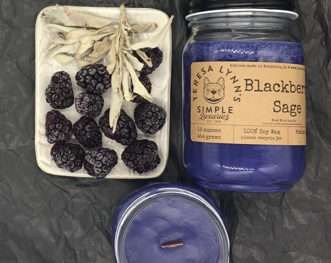Blackberry Sage, Soy candle, wood wick candle, handmade, phthalate free, essential oil, glass, kraft paper, farmhouse, witchy, natural