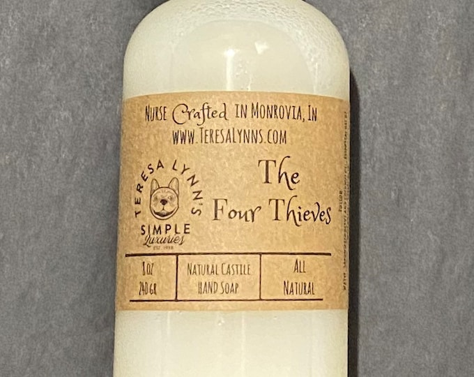 The Four Thieves hand soap, Castile soap, antimicrobial, olive oil, coconut cream, natural soap, skin conditioning, softening soap