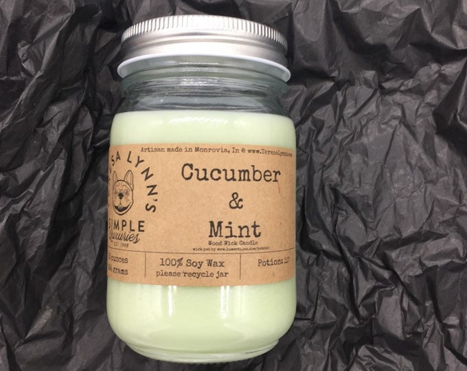 Cucumber and Mint, Wood wick, soy, natural wax, farmhouse, handmade, french bulldog, lux, spring candle, fresh candle