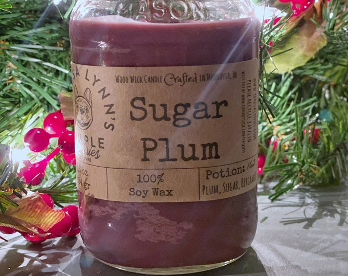Sugar Plum, soy candle, woodwick, Wood wick, purple candle, fruit, Christmas, Yule,  Farmhouse, rustic, vintage, holiday, thanksgiving, fall