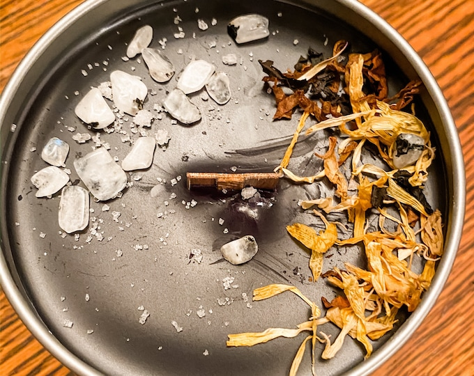 Snow Moon, candle, smudge, wood wick, Stone, flower, herb, Himalayan salt, essential oil, soy, tobacco, Sage, Marigold, witchy, moonstone