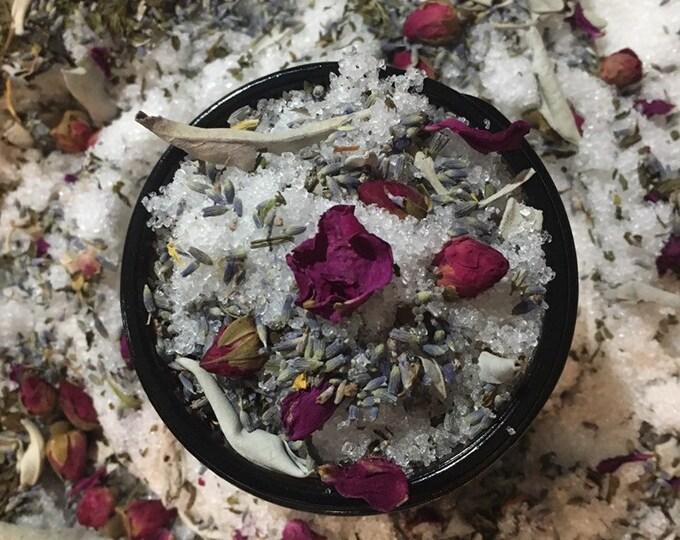 Full Moon Blessings, Milk Bath, centering Dead Sea Salt, fizzy, floral, goddess, bath salt, milk bath, witch, sage,  lavender, essential oil