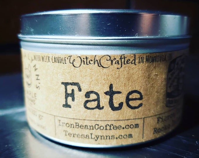 Fate, Tin, coffee candle, scrying candle, mystic, iron bean coffee, sparkle candle, black candle, ouija, candle tin, dark roast, infused
