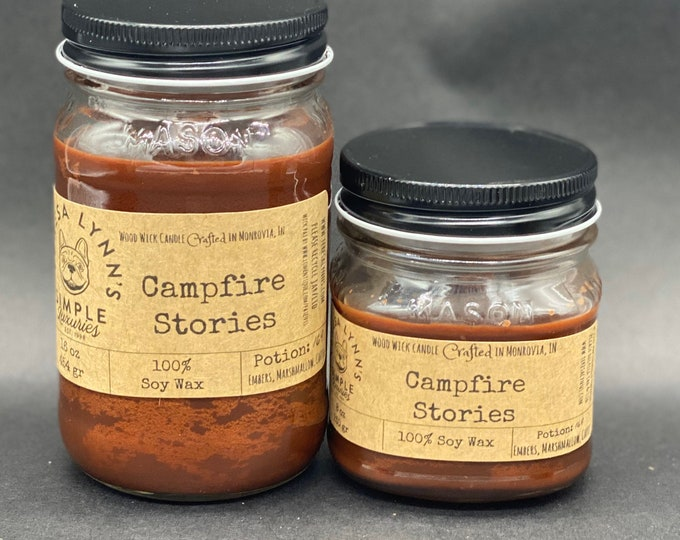 Campfire Stories, soy candle, woodwick candle, wood wick candle, embers, marshmallow, coffee, wood burning, camping, fireside, eco friendly