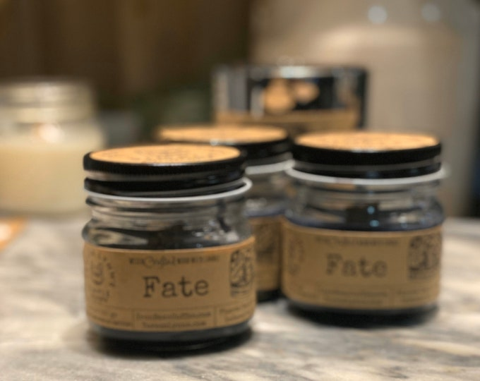 Fate, coffee candle, scrying candle, mystic, iron bean coffee, sparkle candle, black candle, ouija, dark roast, infused candle