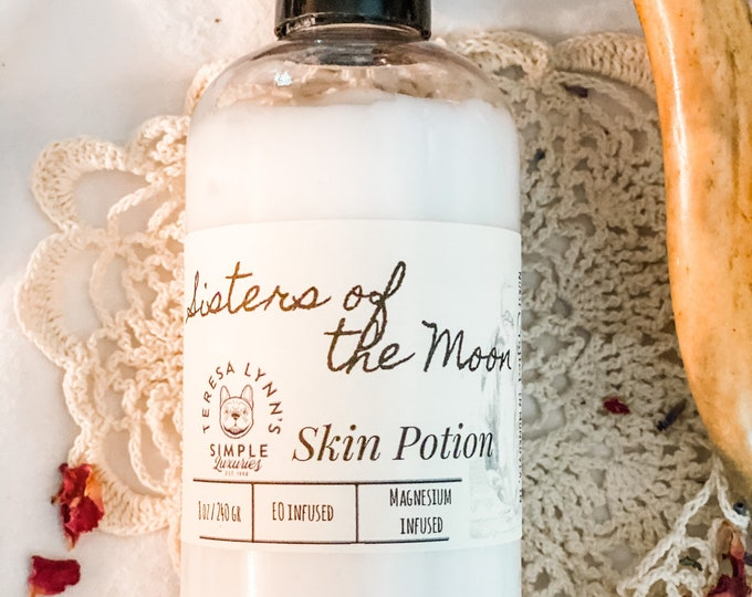 Sisters of the Moon, lotion, skin lotion, goats milk, honey, hemp, Patchouli, Amber, clove, Shea butter, magnesium, skin care, dry skin