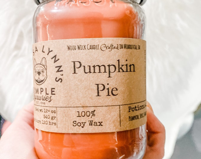 Pumpkin Pie, Soy Candle, Wood Wick, Handmade, long burning candle, Fall decor, Farmhouse, phthalate free, spice, essential oil, bakery, pie