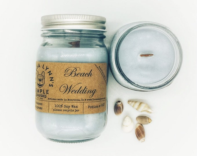 Beach Wedding, soy candle, Wood wick, tropical, ocean air, sea salt, orchid, ozone, galentines, valentines, romantic candle, floral, wedding