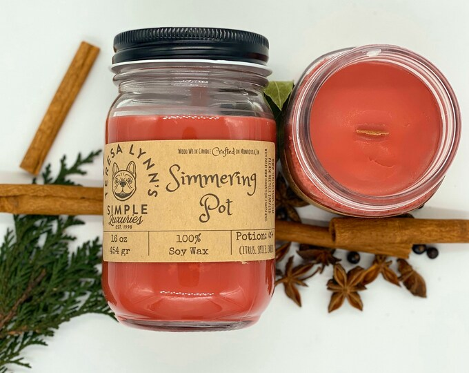 Simmering Pot, Fruit, Spice, Orange, Cinnamon, candle, Soy candle, Wood Wick, Handmade, long burning candle, Farmhouse, phthalate free
