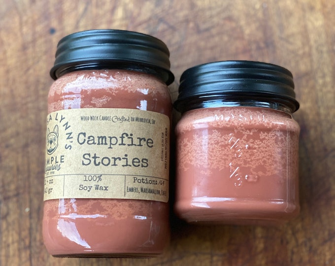 Featured listing image: Campfire Stories, soy candle, woodwick candle, wood wick candle, embers, marshmallow, coffee, wood burning, camping, fireside, eco friendly