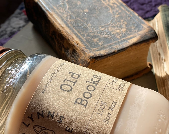 Old Book scented candle | wood wick candle | soy wax candle | handmade candle | aromatherapy candle | wooden wick | french bulldog |