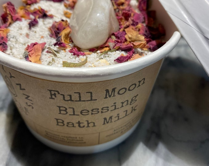 Full Moon Ritual, Milk Bath, centering Dead Sea Salt, Bath fizzy, floral bath salt, goddess, bath salt, coconut milk bath