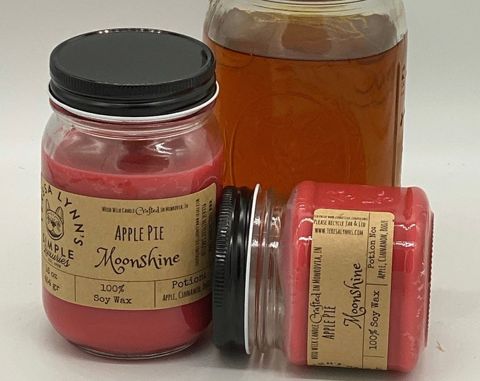 Apple Pie Moonshine, Soy candle, Wood Wick candle, Handmade, long burning candle, Farmhouse, Southern, apple, Spice, Booze, Autumn Candle