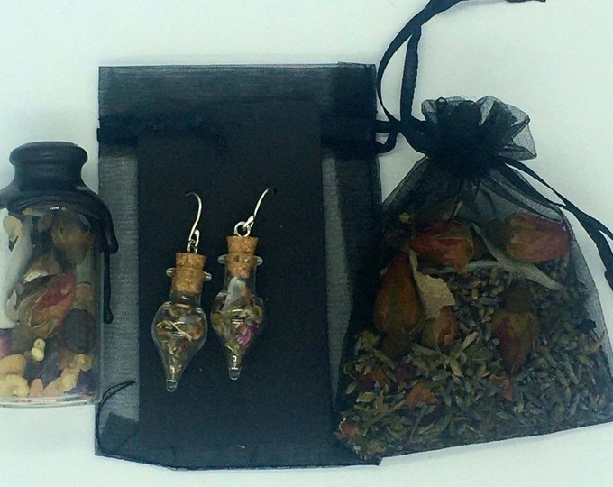 Blessing Jar, Magical, Protection, Glass, Earrings, Herkimer, Herb, Witch, Sterling Silver, Wire, Witch Bottle, Samhain, Wiccan, Jewelry