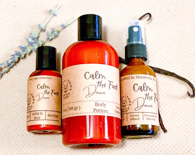 Featured listing image: Calm The Fuck Down Lotion, Anxiety, Self Care, skin repair, , coconut oil, luxury, argan oil, Lavender, Valerian Root, Chamomile