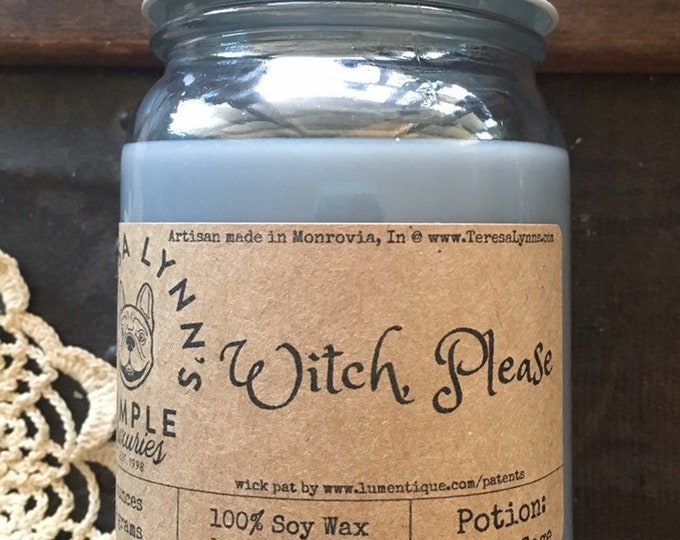 Witch Please, White sage, ritual candle, essential oil, smudge stick, handmade, full moon, wood wick, soy candle,