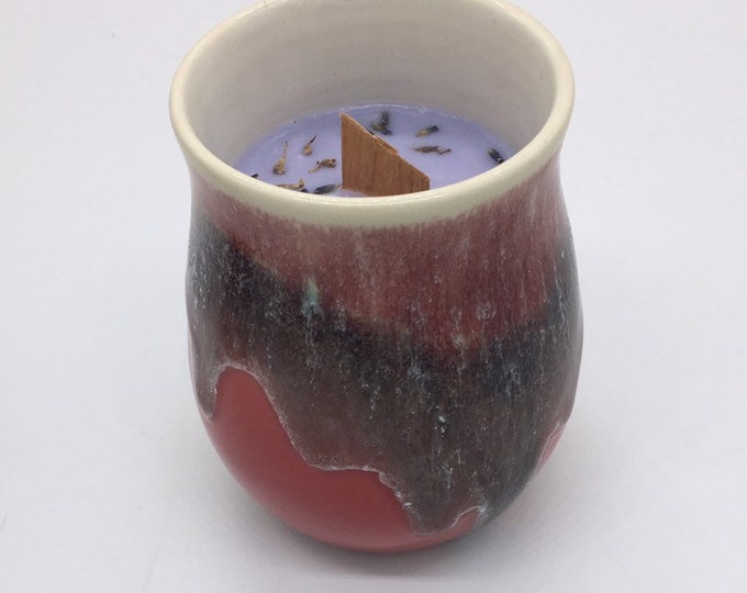 Sublime Pottery vessel candle, chamomile, lavender, wood wick, soy wax, handmade, one of a kind, reusable container, lux candle