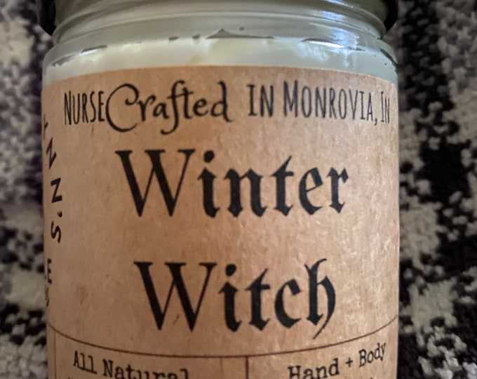 Winter Witch, Body and hand butter, natural ingredients, dry skin relief, handmade, winter skin, skin repair, lavender, sage, vanilla, witch