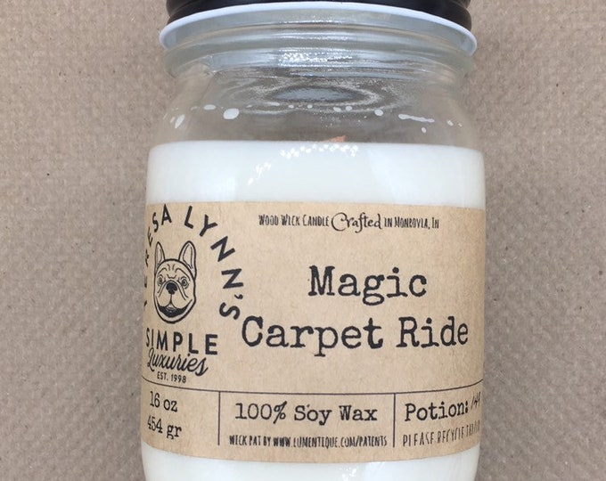 Magic Carpet Ride, Egyptian Musk, Amber, Sandalwood, Saffron, woodwick, wood wick, sexy candle, soycandle, phthalate free, luxury candle