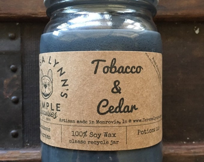 Tobacco and Cedar, Tobacco leaf, Cedar, Soy, Wood Wick, glass jar, phthalalte free, Handmade candle, essential oil, clean candle